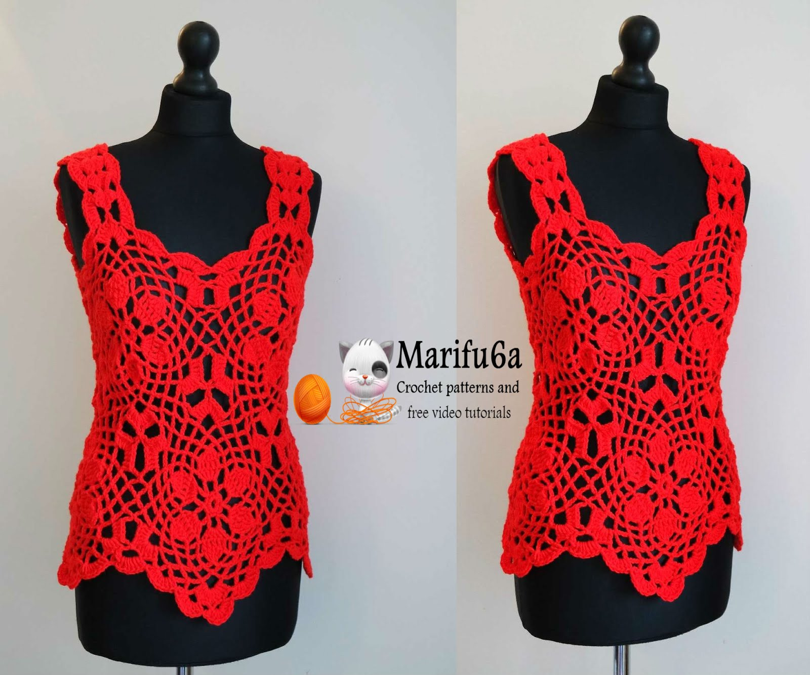 crochet red top with motif pattern