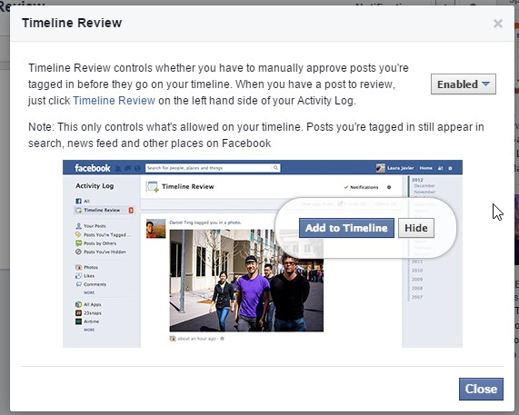 How to turn on and use Facebook Timeline Review to prevent posts or