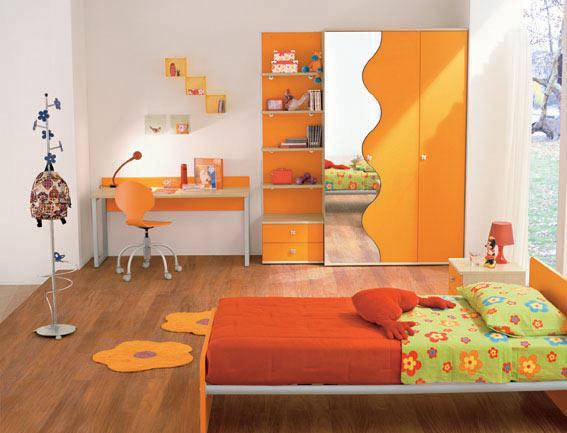 Dormitorios con muebles naranjas para ni os dormitorios for Espejos para habitacion nina