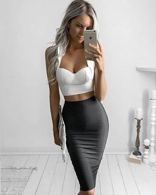 falda lápiz negra elegante