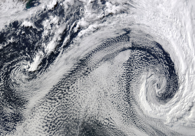 Cyclones, South Atlantic Ocean by Jeff Schmaltz/NASA