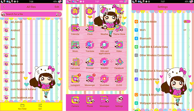 Oppo Theme: Oppo Kitty Flower Lady Theme