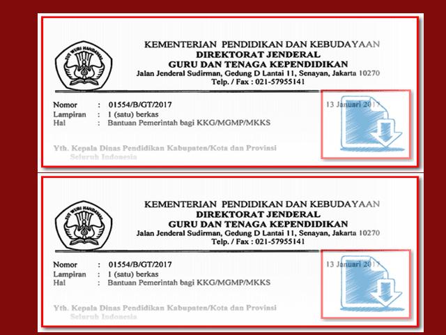 Surat Resmi Edaran Pemerintah Tentang Bantuan KKG MGMP dan MKKS Tahun 2017