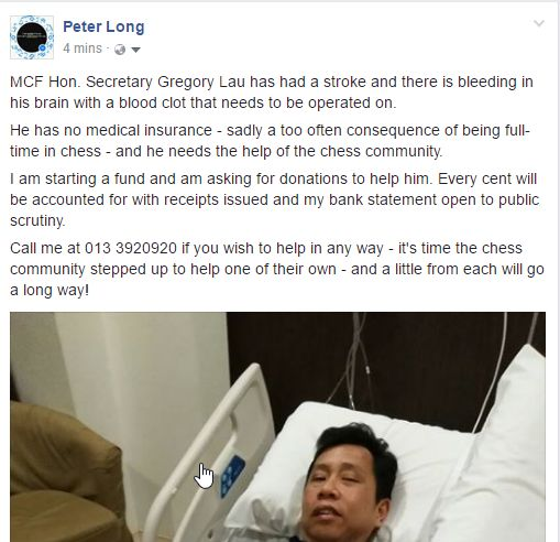 Appeal for Donations to a Gregory Lau Medical Fund