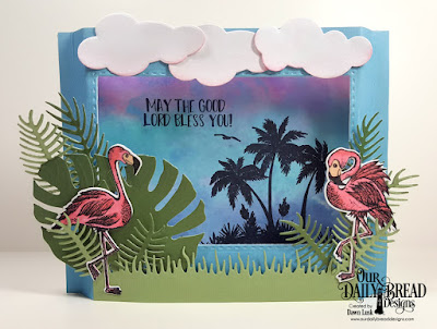 Our Daily Bread Designs Stamp Set: Tickled Pink, Paper Collection: Boho Bolds, Custom Dies: Flamingos, Tropical Leaves, Ferns, Double Stitched Rectangles, Clouds and Raindrops, Grass Lawn