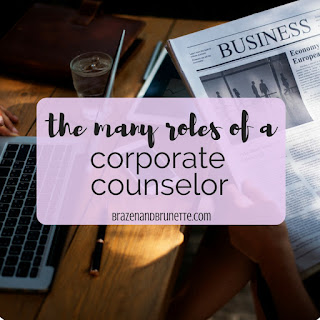 What does it take to be a corporate counselor (or in-house lawyer)? A risk manager mixed in with a contract lawyer, a commercial real estate lawyer, an employment lawyer, an insurance lawyer, and a litigator. law school blog. law student blogger | brazenandbrunette.com