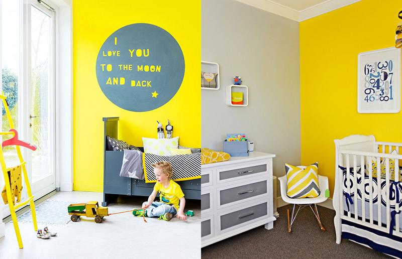 o amarelo nos quartos infantis