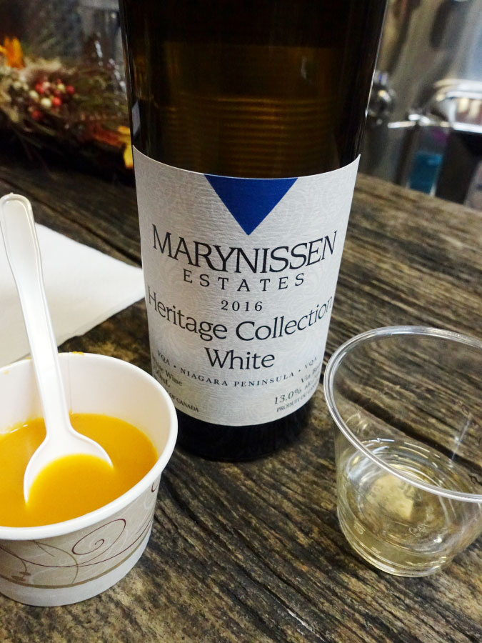 Marynissen Heritage White 2016 (89 pts) with carrot ginger bisque
