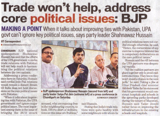BJP spokesperson Shahnawaz Hussain (second from left) and party leader Satya Pal Jain (extreme left) at a press conference in Chandigarh on Saturday. [Photo Courtesy: Gurminder Singh/HT]