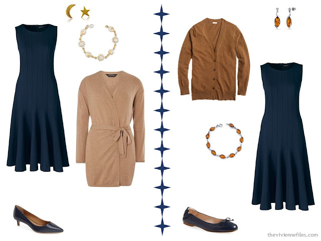 Two ways to wear a navy dress with camel or tan accents