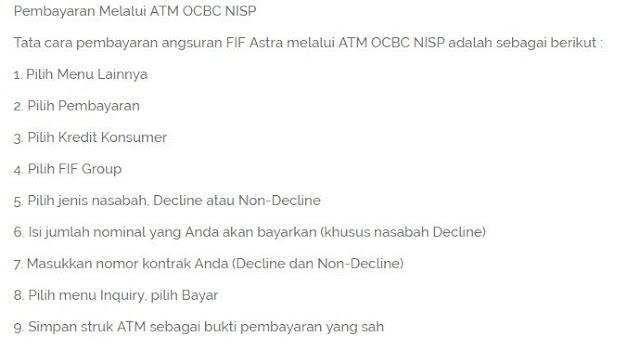 Pembayaran kredit saat ini sangat mudah untuk kamu bayar cara cek tagihan Kredit FIF dan bayar tagihan cicilan Angsuran Kredit FIF Melalui ATM OCBC NISP