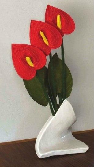 Flor Antúrio em feltro com Molde