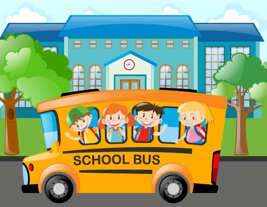 Escolares en autobús escolar