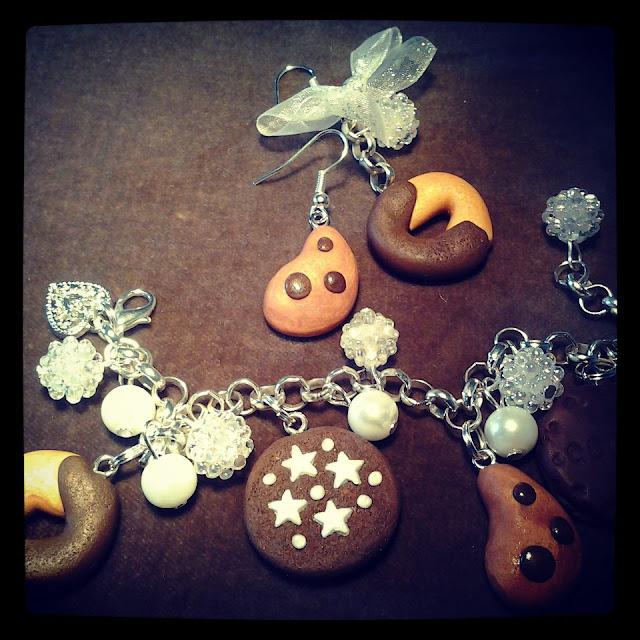 braccialetto e orecchini biscotti in fimo