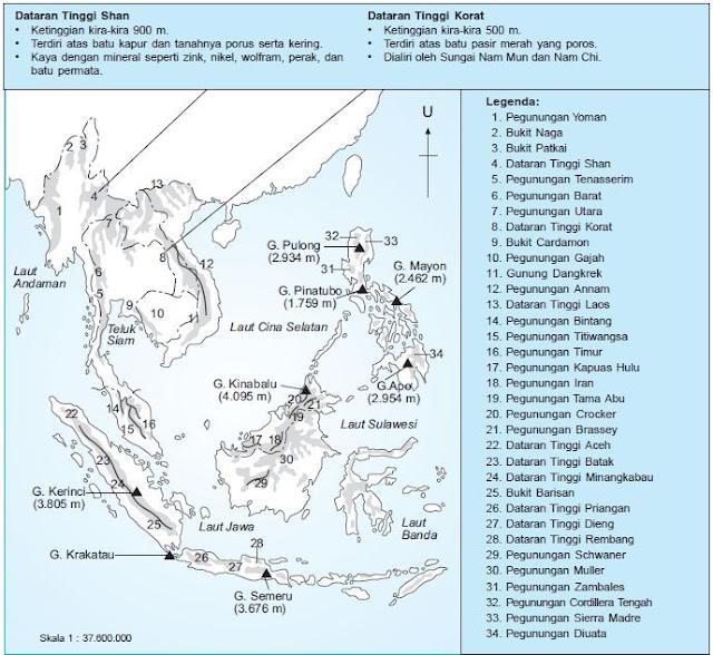 Bentang Alam, Sumber Daya Alam dan Kondisi Fisik Peta Asia Tenggara