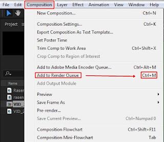 Pilih Composition lalu Add Render Queue