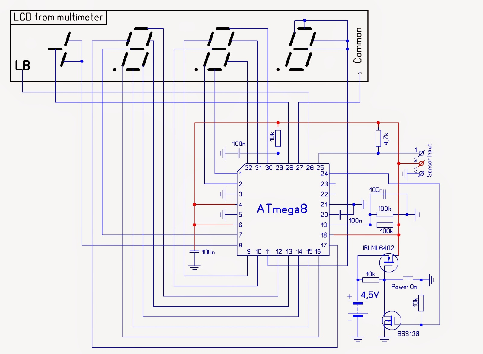 Microcontroller Home Projects 2014 Diagram Voltmeter Circuit 7 Segment Led Display I Have Changed The Schematic And Sketch Due To Pcb Just Couldnt Make It According Old So Did Easiest Way
