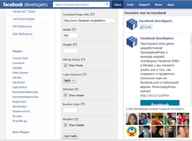 Aprenda como gerar, configurar e instalar um box de curtir do facebook em seu blog.