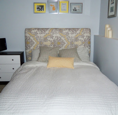 DIY bed with yellow and grey toile fabric