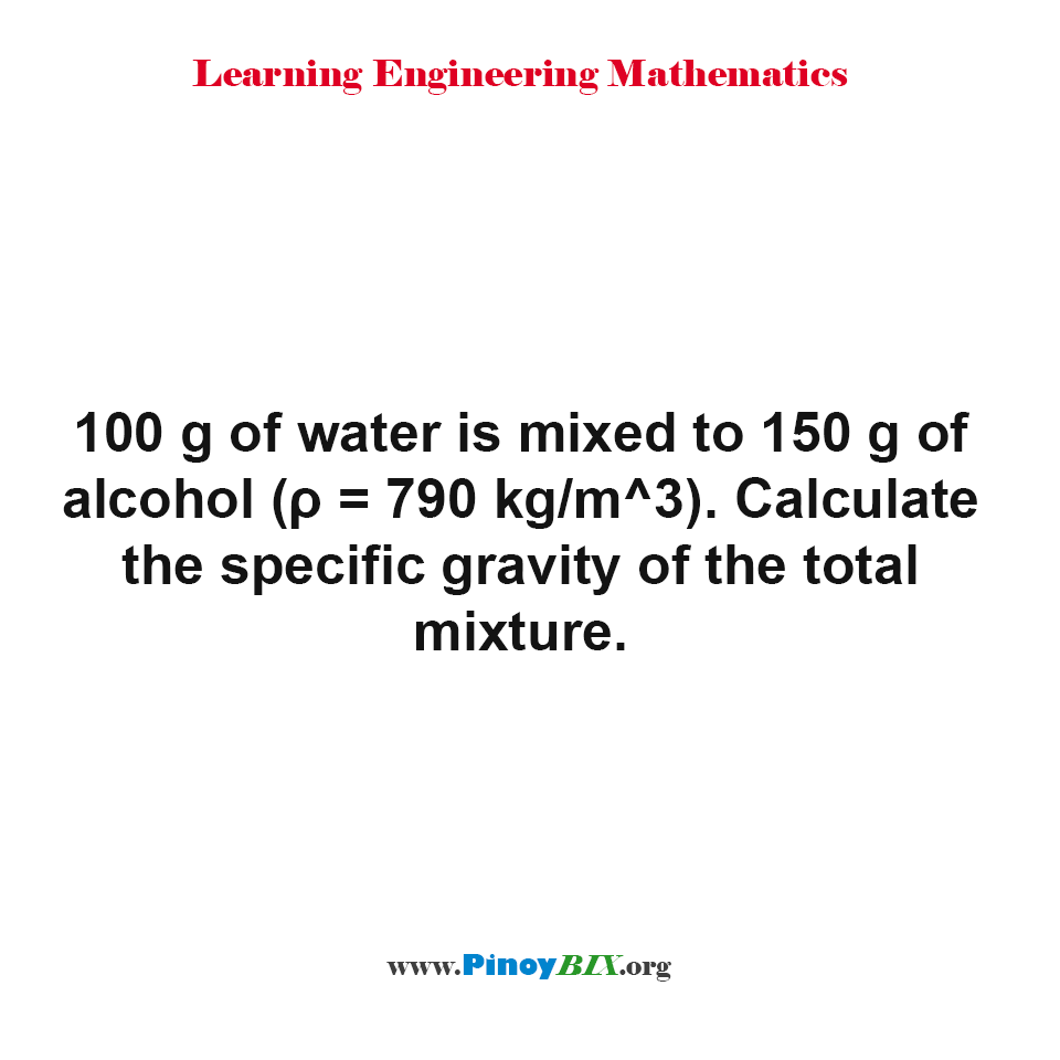 Calculate the specific gravity of the total mixture