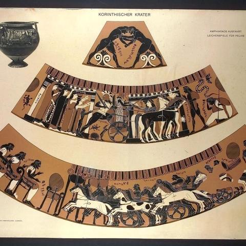 """Αναχώρηση Αμφιάραου, Άθλα επί Πελία. Κορινθιακός κρατήρας γνωστός ως """"Κρατήρας του Αμφιάραου"""", περίπου 570-560 π.Χ. Στο κέντρο της πάνω ζώνης απεικονίζεται η αναχώρηση του Αμφιάραου. Ο Αμφιάραος, κρατώντας ξίφος, ανεβαίνει στο τέθριππο άρμα. Ο Βάτων, ο ηνίοχος, ήδη βρίσκεται στη θέση του. Στην άκρη αριστερά η Εριφύλη, κρατώντας το περίφημο περιδέραιο, τον αποχεραιτά μαζί με τις κόρες και το γιο τους Αμφίλοχο. Στην κάτω ζώνη εικονίζεται αρματοδρομία για το θάνατο του Πελία. Βερολίνο, Antikensammlung"""
