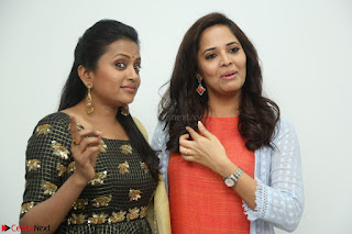 Actress Suma in Black Salwar Suit and Anusuya in orange Dress at winner movie press meet part 1 February 2017 (28).JPG