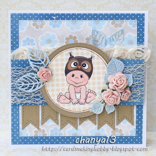 155. Kartka dla dziecka z sówką