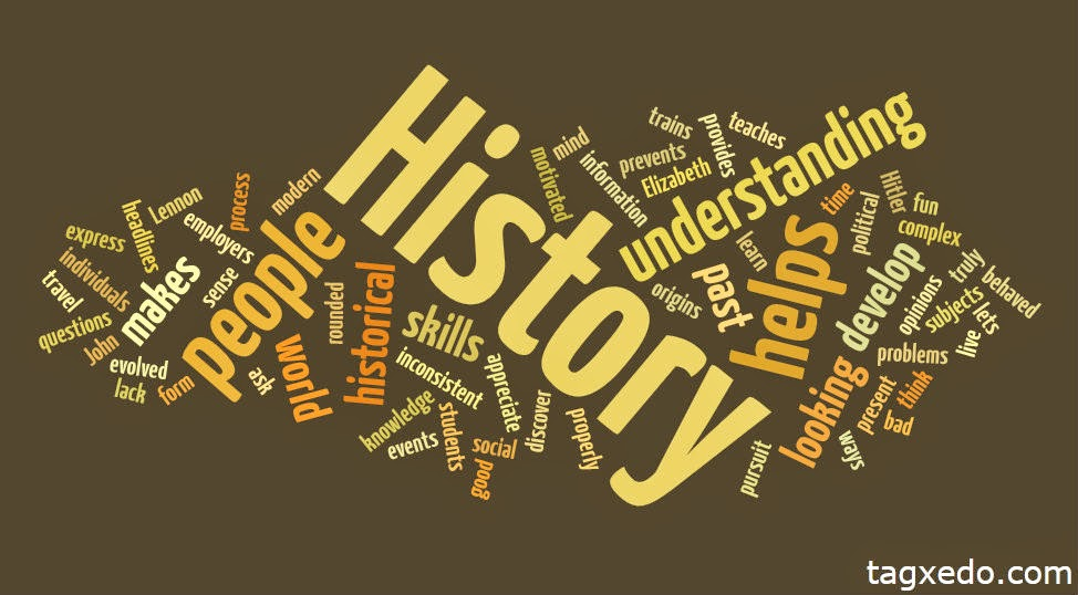 "Word cloud around the large print word ""History"""