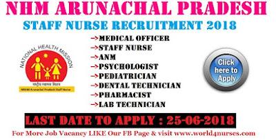 NHM Arunachal Pradesh Staff Nurse Recruitment 2018