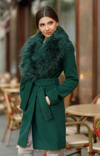 Palton dama elegant cu blanita la guler de iarna ieftin Verde Inchis