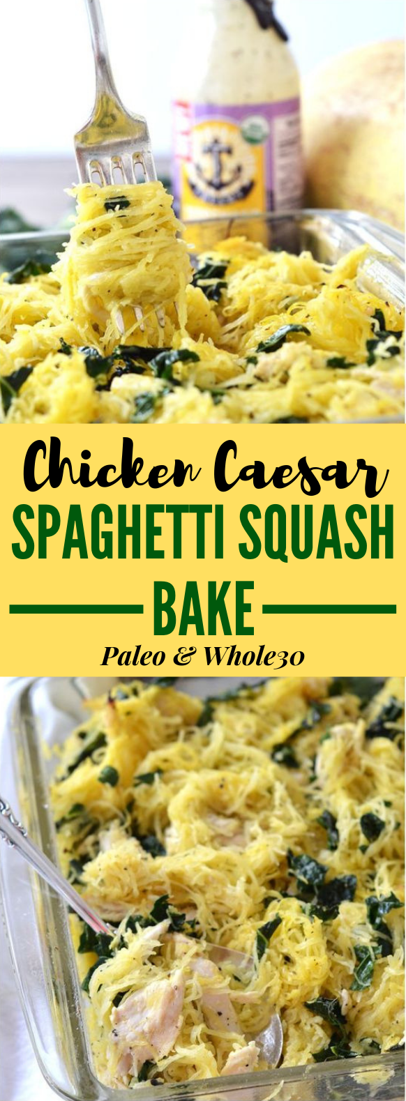 CHICKEN CAESAR SPAGHETTI SQUASH BAKE #Whole30 #Paleo