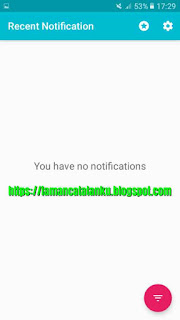 riwayat notifikasi recent notification telah dihapus