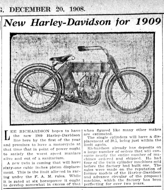 Harley-Davidson advertising Dec. 20, 1908