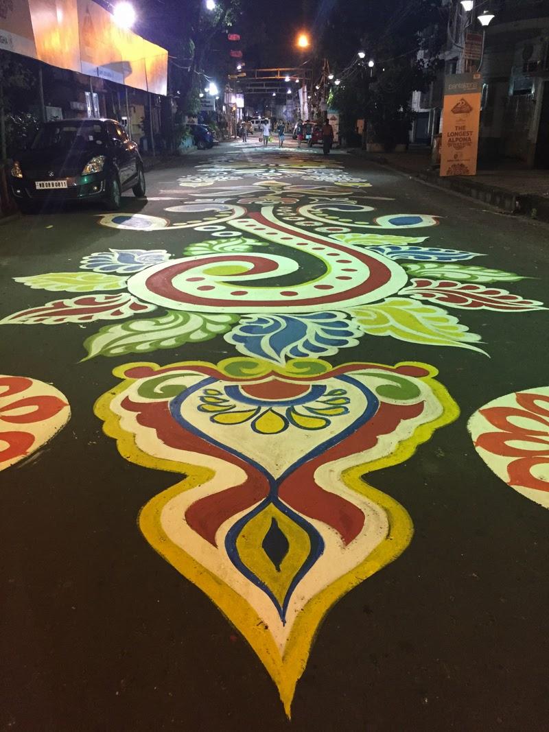 Longest Alpona or Rangoli Art to celebrate Durga Puja festival Kolkata. Photo Credit :-  Camellia Bhowmik