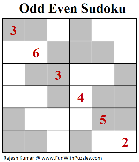 Odd Even Sudoku (Mini Sudoku Series #99)