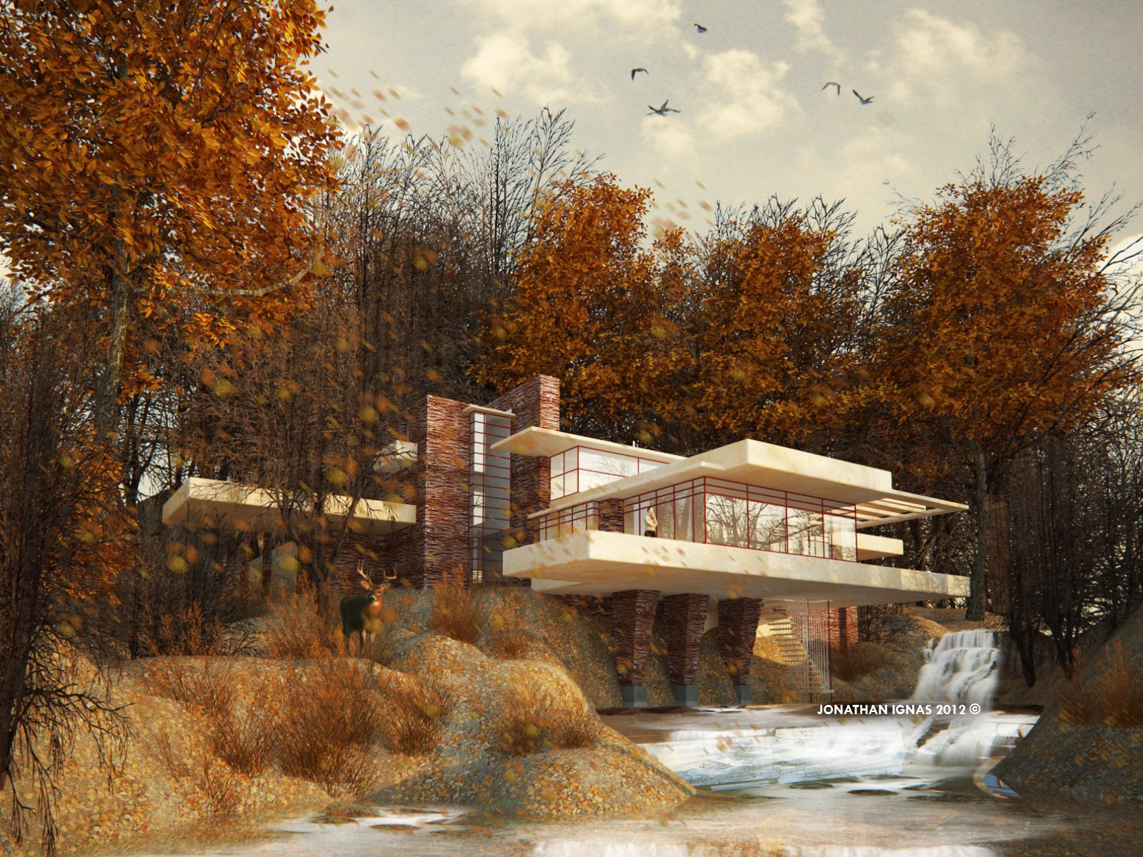Falling Water House Wallpaper Sketchup Texture Falling Water House Challenge Top 15