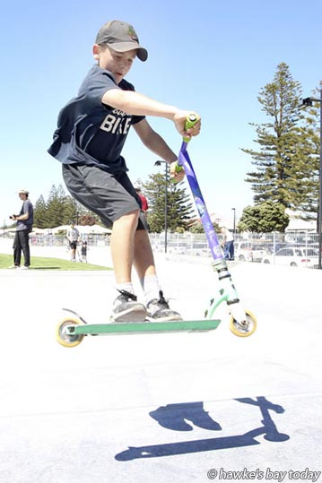 Konrad Troup, 11, Hastings, at the official opening of Bay Skate, Marine Parade, Napier.  photograph