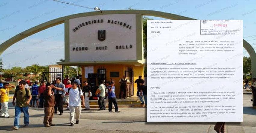 UNPRG: Postulante a la Universidad Pedro Ruiz Gallo de Lambayeque demostró que institución se equivocó en resolver el examen