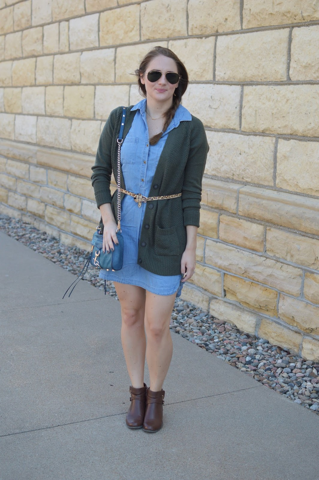 chambray dress with booties | brown booties with a chambray dress and green sweater | old navy green sweater for fall | a memory of us