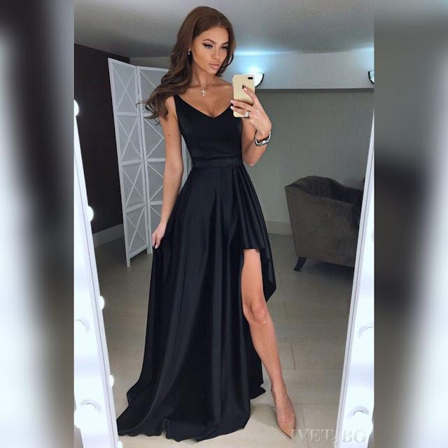 Εντυπωσιακό μάξι μαύρο φόρεμα DILENA