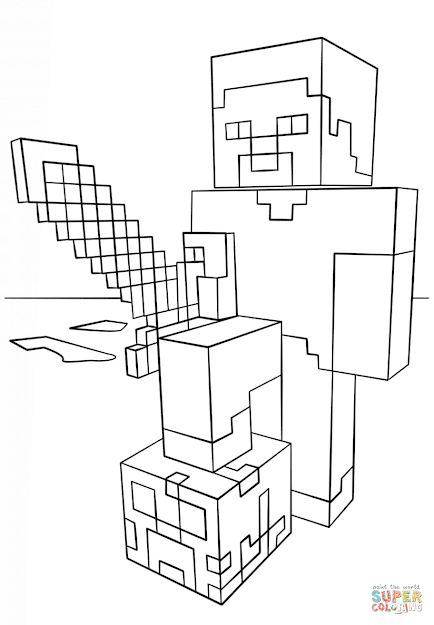 Click The Minecraft Steve With Diamond Sword Coloring Pages To View  Printable Version Or Color It Online Patible With Ipad And Android  Tablets