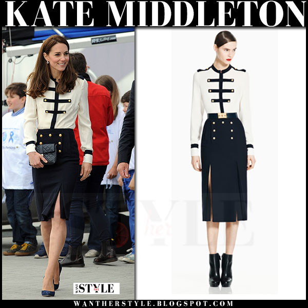 Kate Middleton in nautical cream blouse and navy button skirt alexander mcqueen what she wore 2016