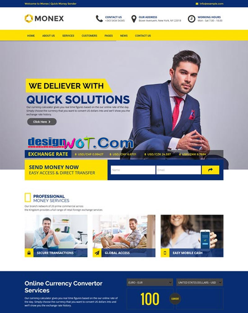 Monex - Money Exchange and Finance Business WordPress Theme