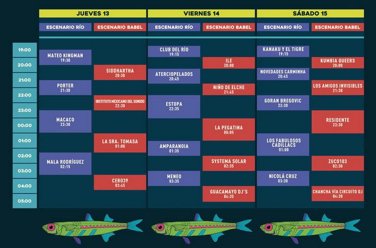 Horarios del festival Río Babel 2017