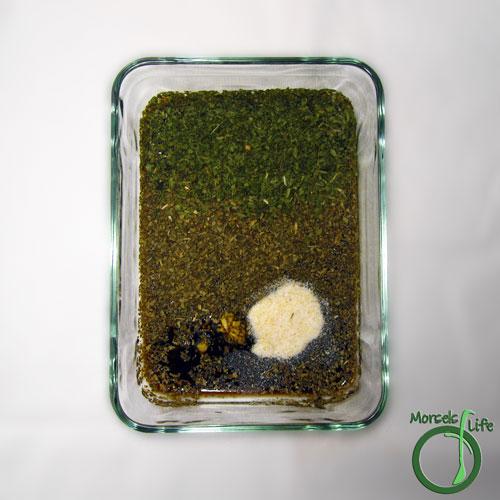 Morsels of Life - Balsamic Salmon Step 2 - Combine balsamic vinegar, garlic, cilantro, basil, and garlic salt.