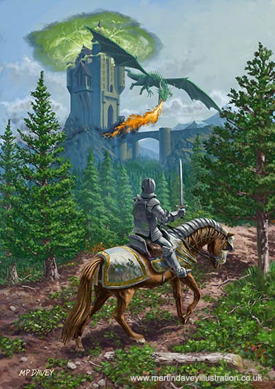 Knight on horseback approaching dragon guarded castle – digital fantasy painting