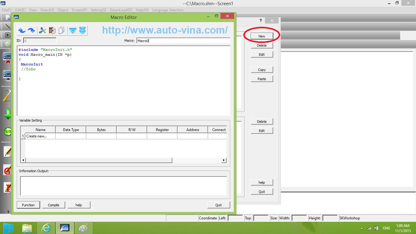Cách tạo Macro trong SKWorkshop lập trình cho màn hình cảm ứng HMI Samkoon