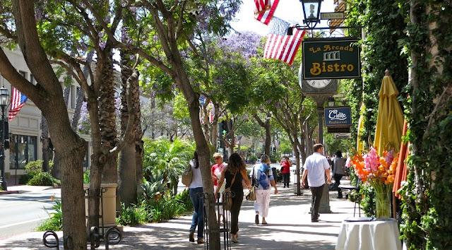 Ruas famosas em Santa Bárbara na Califórnia