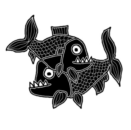 Fekete-fehér, piranha tetoválásra emlékeztető, digitális rajz piranyáról, aki a vizek higanya, és pirapáról, aki gyorsabb, mint egy paripa.