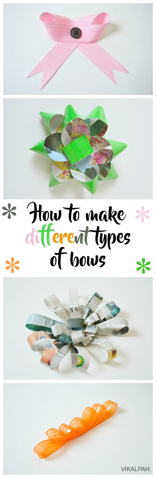 gift bows using different materials like newspaper, duct tape, ribbons, etc